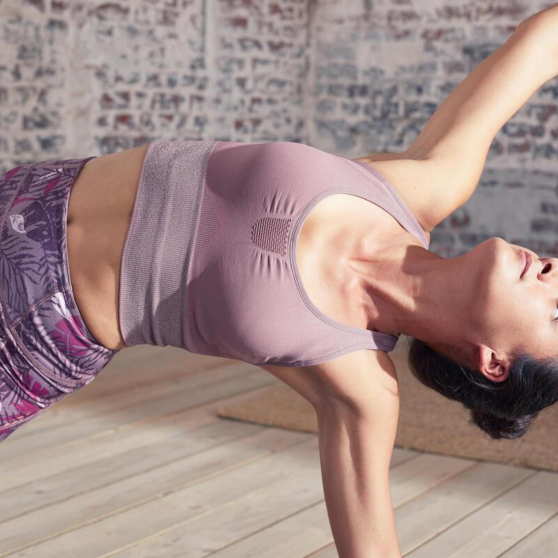 Seamless Long Dynamic Yoga Sports Bra - Plum/Silver