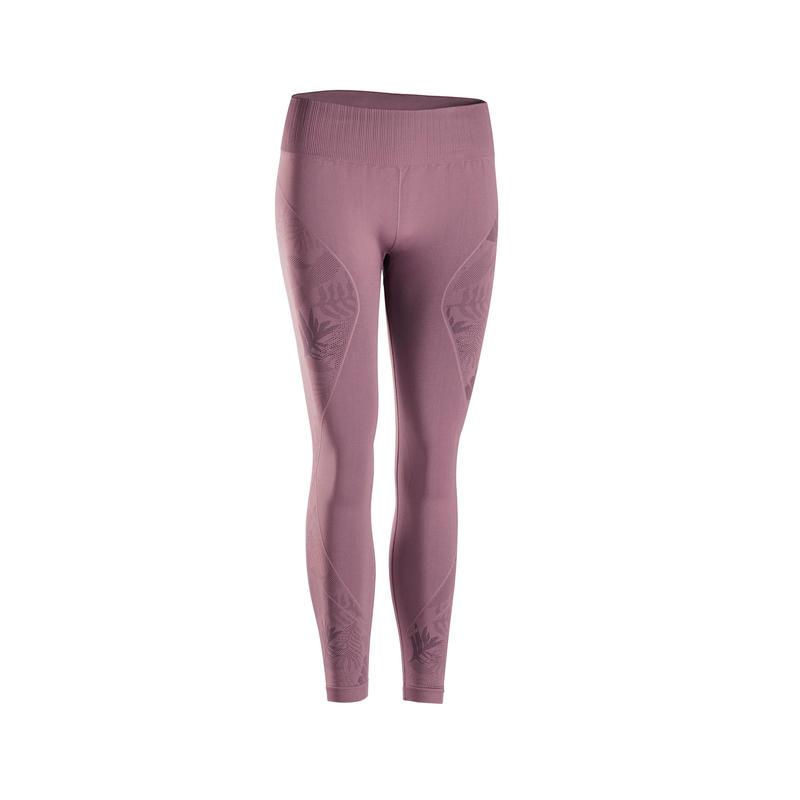 กางเกงเลกกิ้งโยคะไร้ตะเข็บขา 7/8 (สีม่วงแดง)