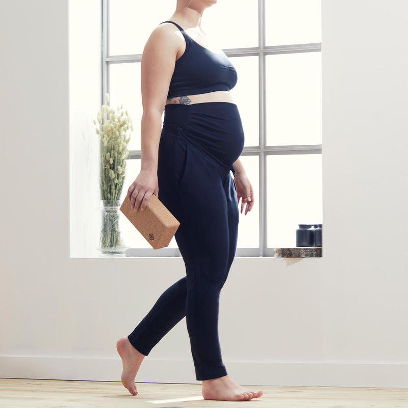Pantalon De Yoga Doux Femme Enceinte Noir Domyos By Decathlon