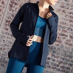 Sudadera con cremallera mujer Yoga Domyos chaqueta reversible negro gris