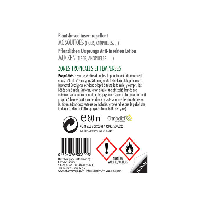 Spray anti insectes naturel - BIOVECTROL - Eucalyptus citronné - 75 ml