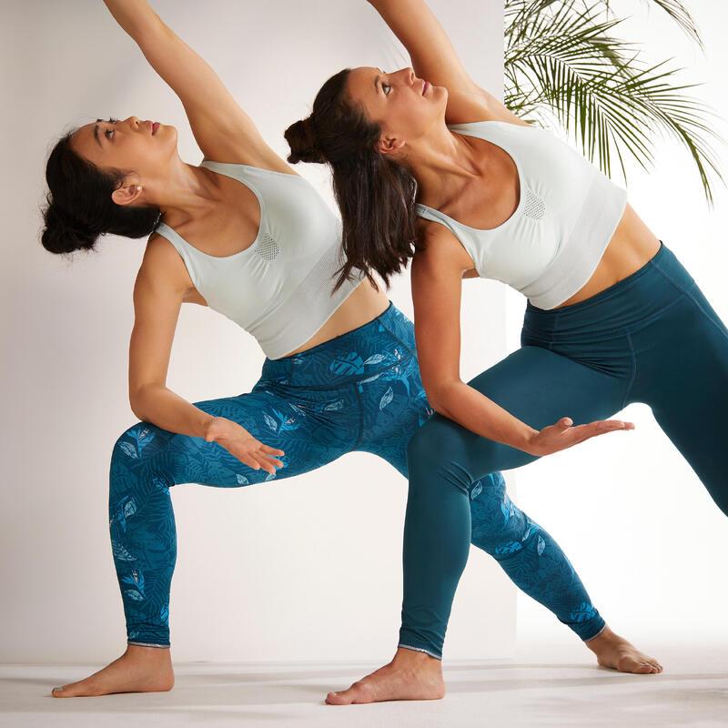Leggings Mallas Compresión Mujer Yoga reversibles azul