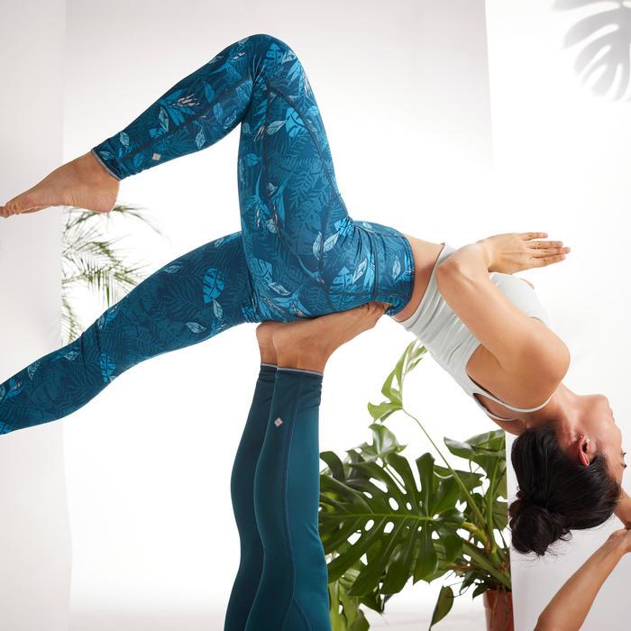 Omkeerbare legging voor dynamische yoga blauw/eendenblauw