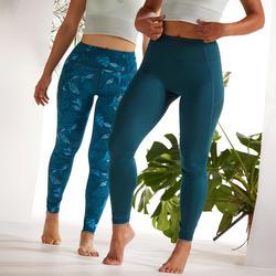 Malla Yoga mujer Leggins Reversibles Domyos estampado azul