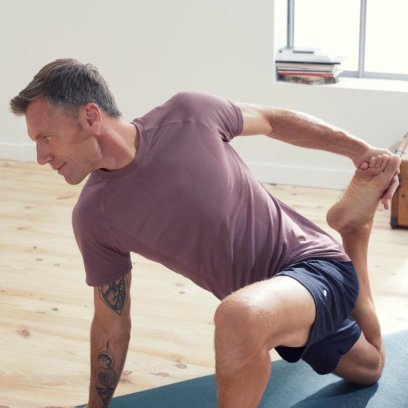 Men's Seamless Short-Sleeved Gentle Yoga T-Shirt - Plum