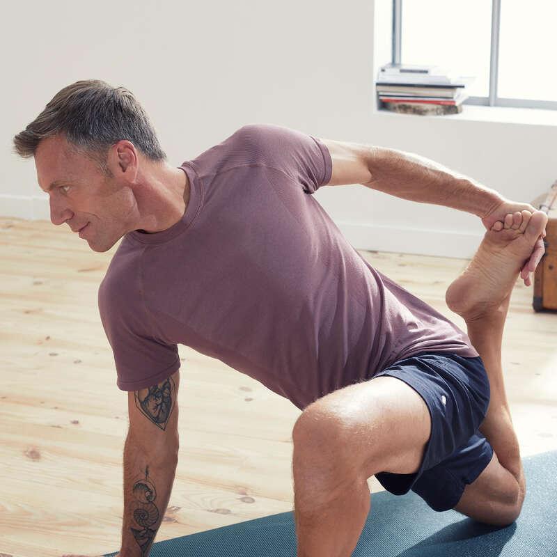 MAN YOGA APPAREL Clothing - Short-Sleeved Yoga T-Shirt DOMYOS - By Sport