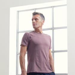 Naadloos T-shirt met korte mouwen voor zachte yoga heren pruimenpaars