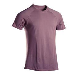 T-shirt voor zachte yoga heren naadloos korte mouwen pruimenpaars