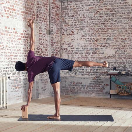 Men's Seamless Short-Sleeved Dynamic Yoga T-Shirt - Burgundy