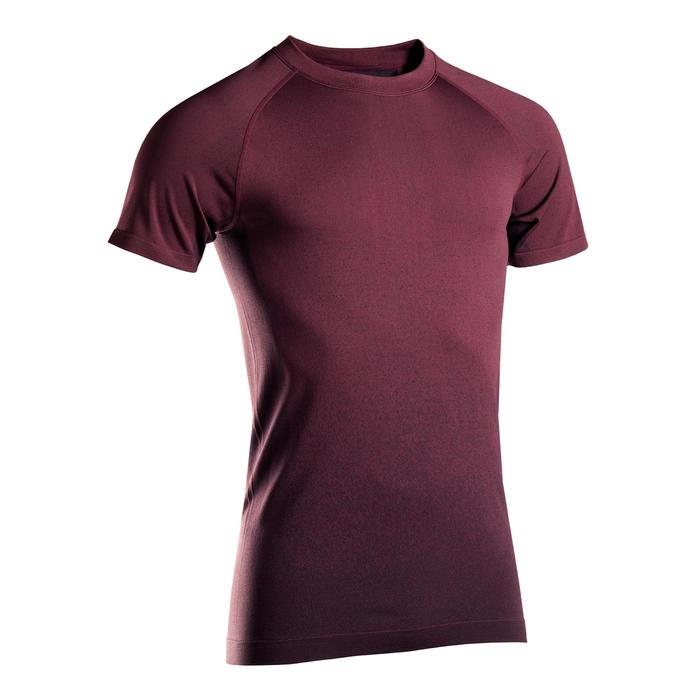 Naadloos T-shirt met korte mouwen voor dynamische yoga heren bordeaux