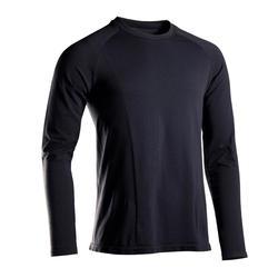 Naadloos shirt met lange mouwen voor zachte yoga heren zwart
