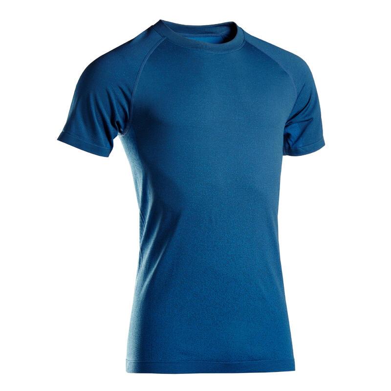 T-shirt voor dynamische yoga heren naadloos korte mouwen blauw