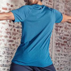 Naadloos T-shirt met korte mouwen voor dynamische yoga heren blauw