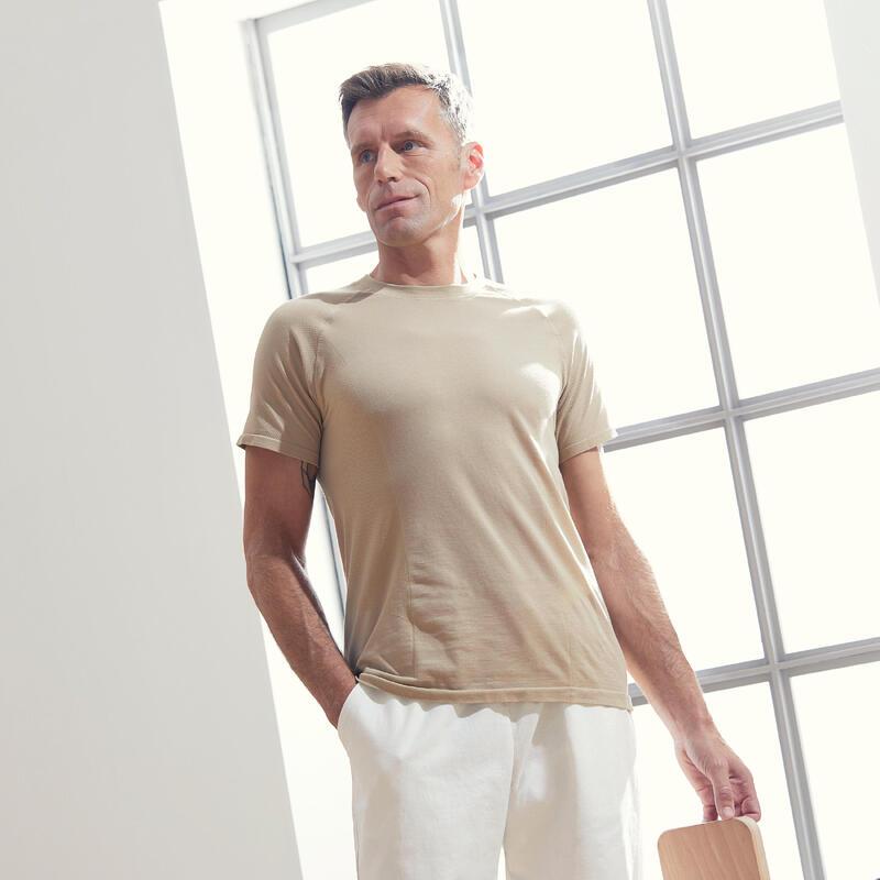 Men's Seamless Short-Sleeved Gentle Yoga T-Shirt - Beige