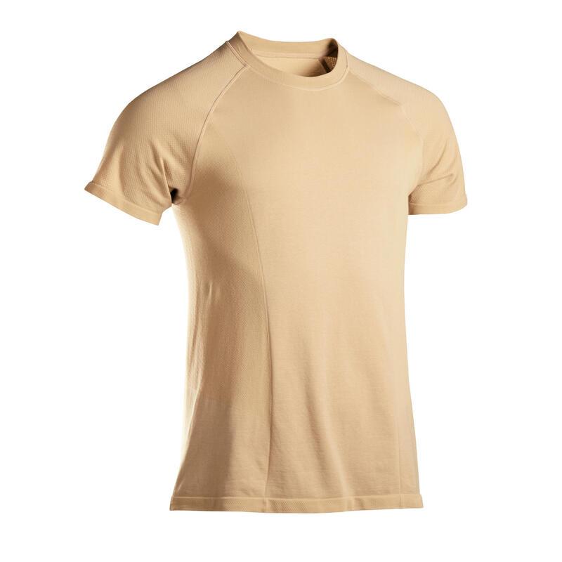 T-shirt voor zachte yoga heren naadloos korte mouwen beige