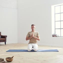Naadloos T-shirt met korte mouwen voor zachte yoga heren beige