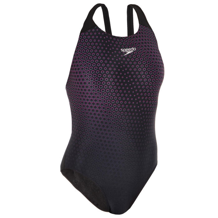 Sportbadpak voor zwemmen dames Powerback zwart/roze