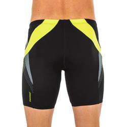Lange zwemboxer voor heren zwart/geel