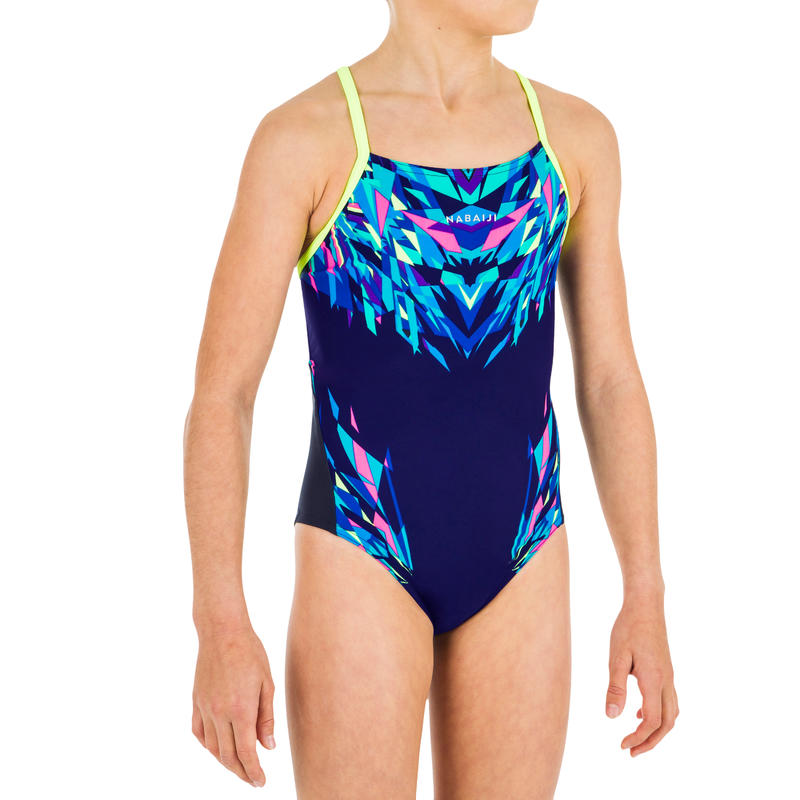 Girls' Swimming One-Piece Swimsuit Chlorine Resistant Lexa Kali - Blue