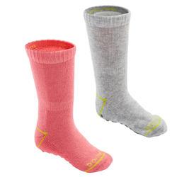 Antislip sokken voor kleutergym 500 set van 2 paar roze/gemêleerd grijs