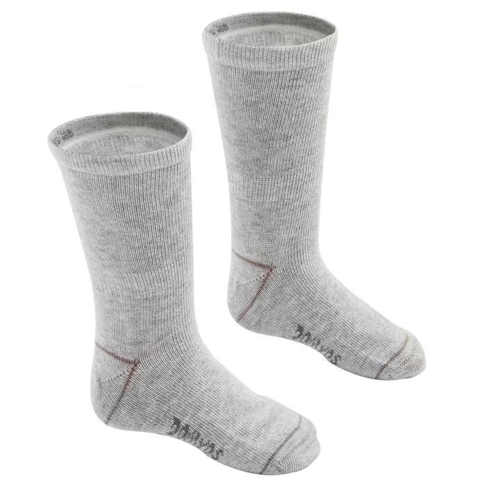 Chaussettes basiques enfant mi-haute lot de 2 gris