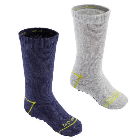 Non-Slip Socks 500 Twin-Pack - Navy/Heathered Grey