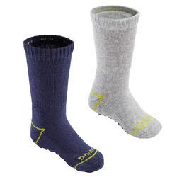 Antislip sokken voor kleutergym 500 set van 2 paar marineblauw/gemêleerd grijs