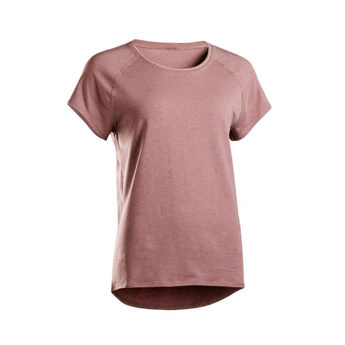 T-shirt voor zachte yoga dames biologisch katoen pruimenpaars