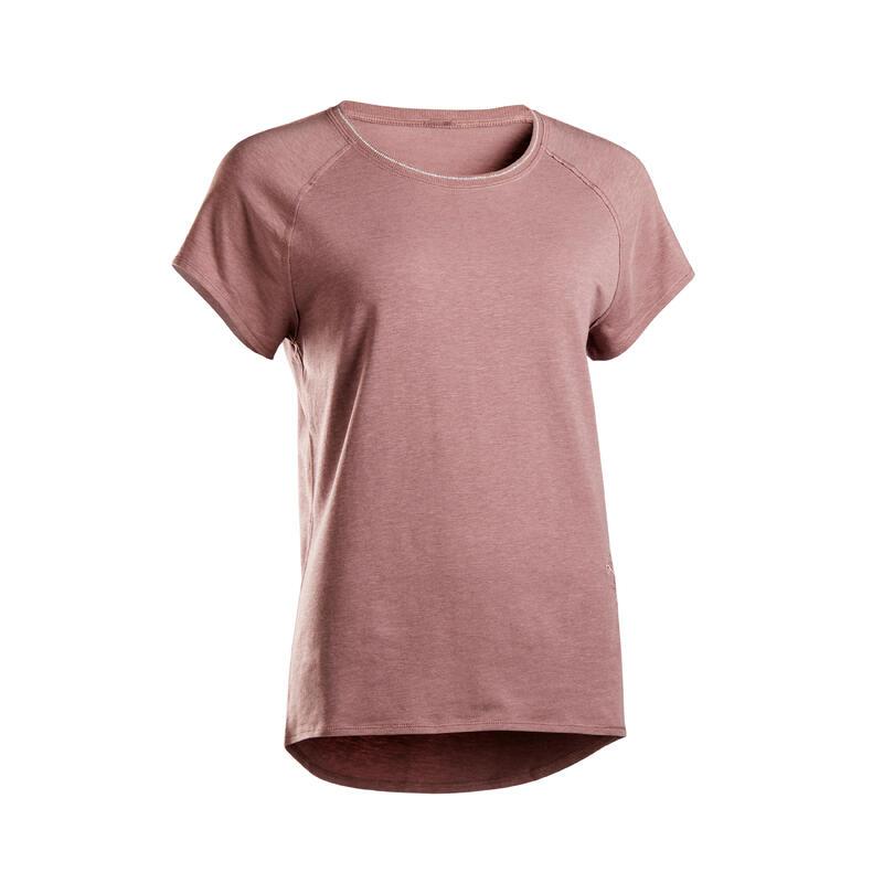 T-shirt voor zachte yoga dames biologisch katoen paars