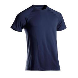 男款無縫短袖舒緩瑜珈T恤 - 藍色