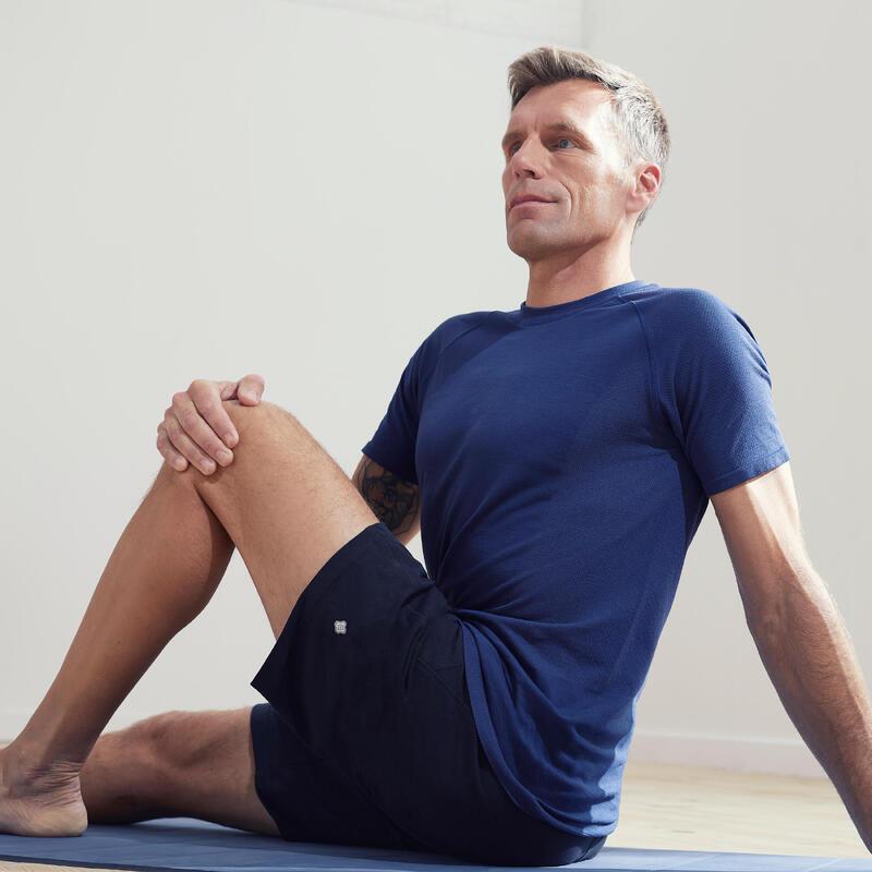 Men's Seamless Short-Sleeved Gentle Yoga T-Shirt - Blue/Grey