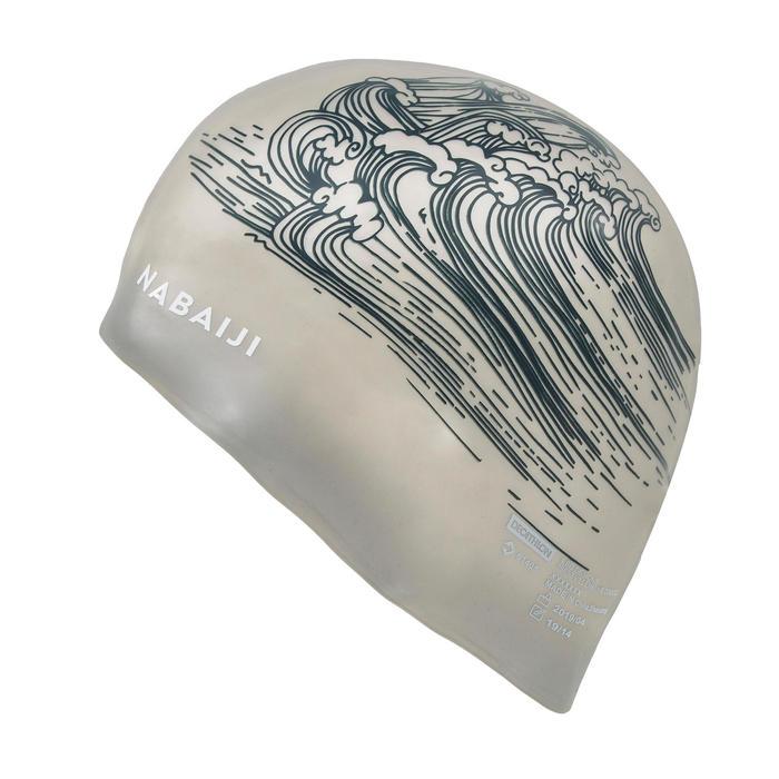 矽膠泳帽大容量500 - 印花海洋黑色