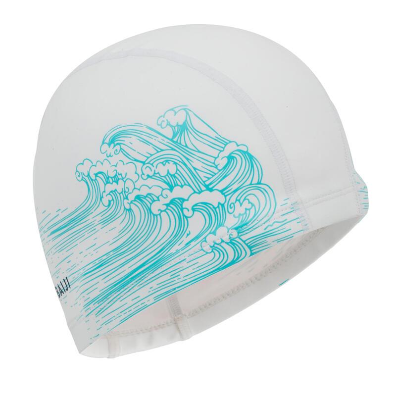 Silicone Mesh Swim Cap Size L - White Sea Print