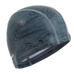 Badmuts textiel met silicone maat L print Sea grijs