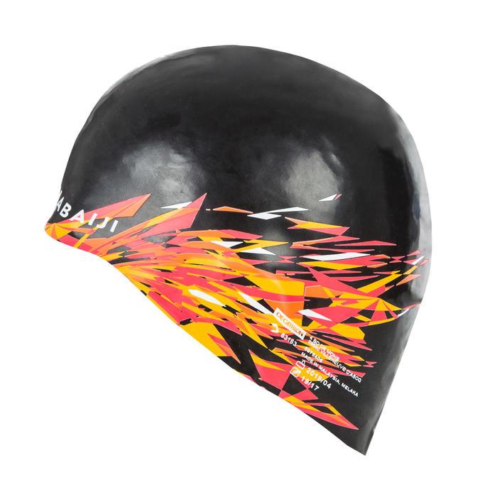 Siliconen badmuts 500 print Fire zwart