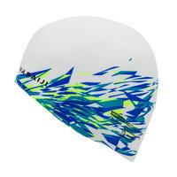 SILICONE SWIM CAP 500 PRINT - FIRE WHITE