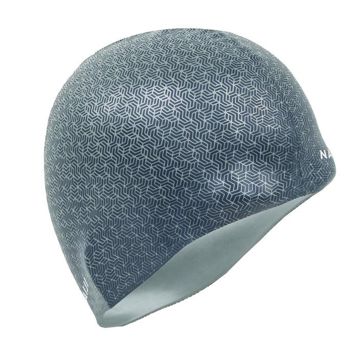 矽膠500印花泳帽土灰色