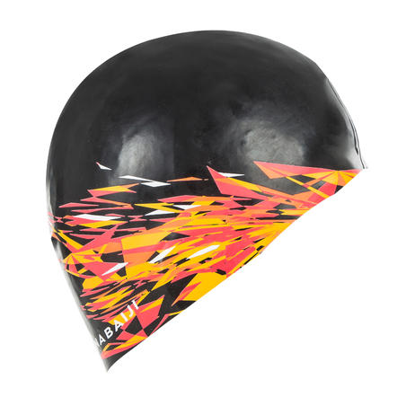 SILICONE SWIM CAP 500 PRINT - FIRE BLACK