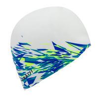 Silicone Swim Cap - White Fire Print