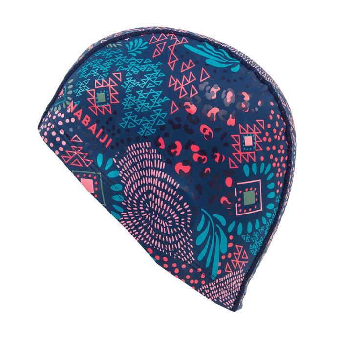 矽膠網眼泳帽L號印花 - 圖騰藍