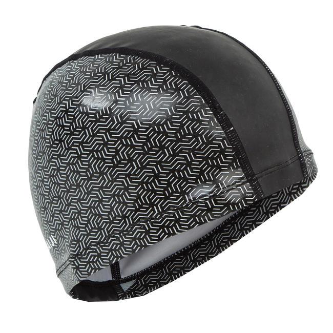 Swim Cap Silicone Mesh Size large - Printed Black white
