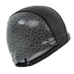 Swim Cap Silicone Mesh Size large - Printed Black white