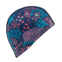 Stoffen badmuts met siliconen coating, met print, maat L Canopa blauw