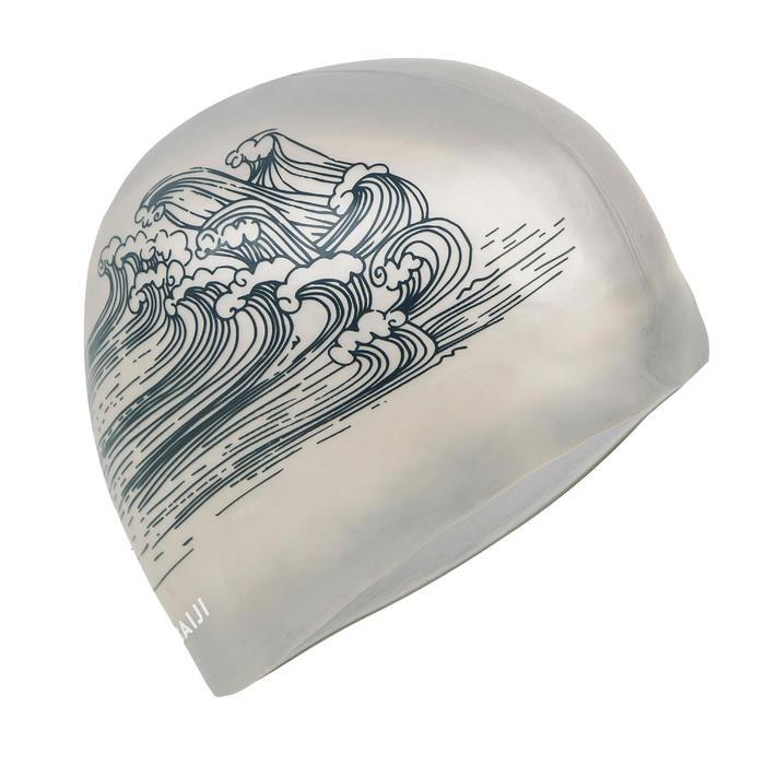 SWIMMING SILICONE SWIM CAP VOLUME 500 - PRINT SEA BLACK