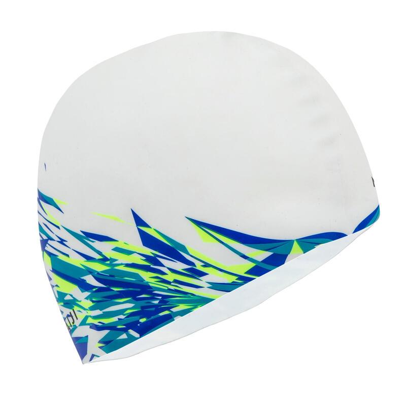 Plavecká silikonová čepice Print Fire bílá