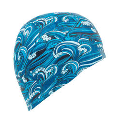 SILICONE SWIM CAP 500 PRINT - WAVE BLUE
