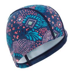 Swim Cap Silicone Mesh Size large - Printed Blue pink