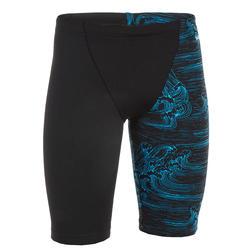 Boys swimming jammer shorts - printed black waves