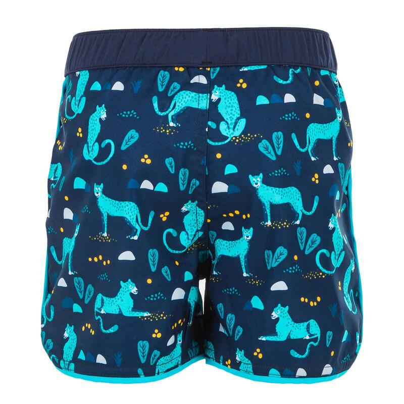 Zwemshort voor peuters / kinderen donkerblauw met panterprint