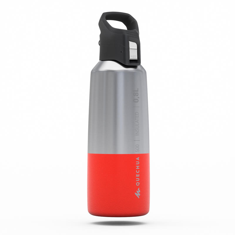 Insulated Stainless Steel Hiking Flask MH500 0.8L - Red